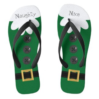 Green Christmas in July Custom Festive Flip Flops
