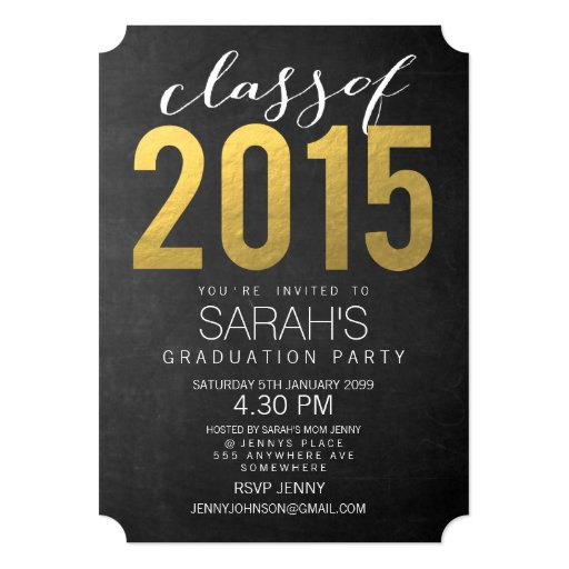 "Gold Foil Typography Class of 2015 Party Invite 5"" X 7"" Invitation Card"