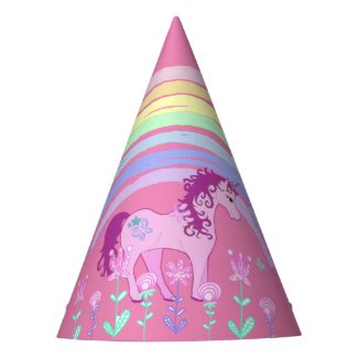 Unicorn & Rainbow Birthday Party Party Hat