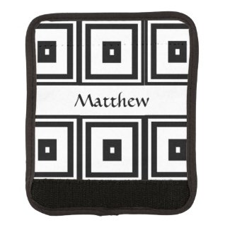 Black and White Squares Luggage Handle Wrap