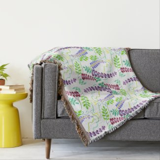 Hand-Painted Watercolor Japanese Wisteria Flowers Throw Blanket