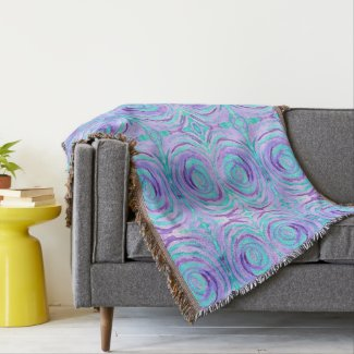 Watercolor Purple Turquoise Swirl Abstract Painted Throw Blanket