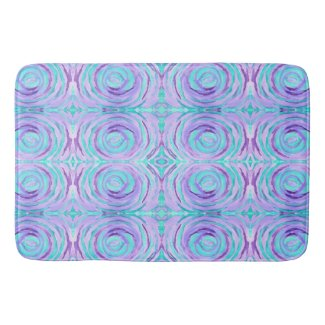 Watercolor Purple Turquoise Swirl Abstract Painted Bath Mat