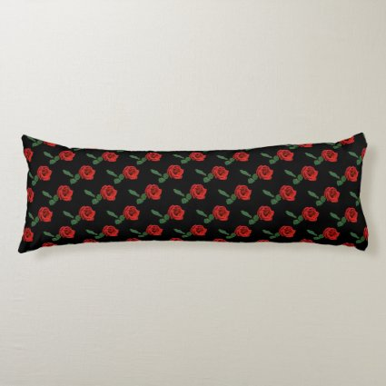 Single Red Rose Body Pillow