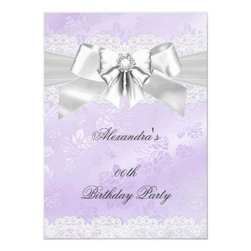 Elegant Purple Damask Silver White Birthday Party 4.5x6.25 Paper Invitation Card