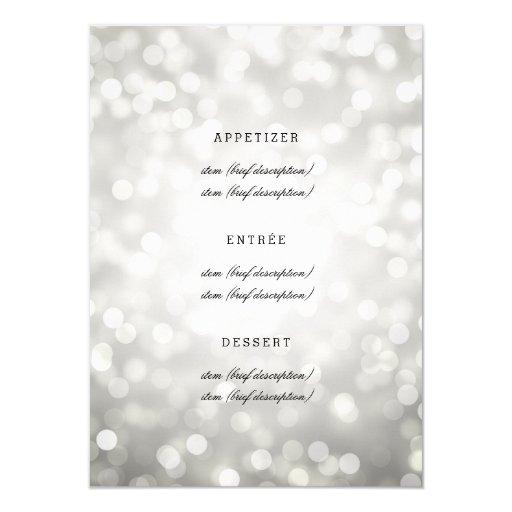 Elegant Wedding Menu Silver Glitter Lights 4.5x6.25 Paper Invitation Card