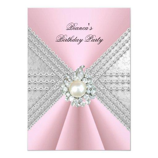 Elegant 50th Birthday Silver Pink Diamond Pearl 4.5x6.25 Paper Invitation Card