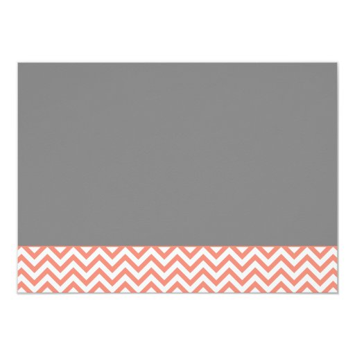 Modern Chevron Gown Coral Gray Bridal Shower 4.5x6.25 Paper Invitation Card (back side)