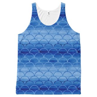 Lovely Prussian Blue Watercolor Fan Shapes All-Over Print Tank Top