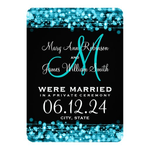 Elegant Marriage Elopement Sparkles Turquoise 4.5x6.25 Paper Invitation Card