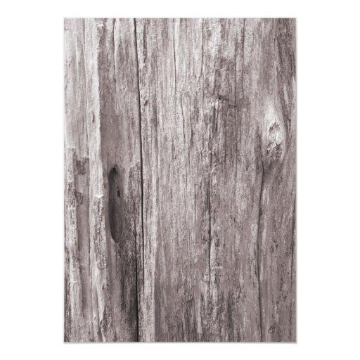 Rustic Starfish Driftwood Background Wedding 5x7 Paper Invitation Card (back side)