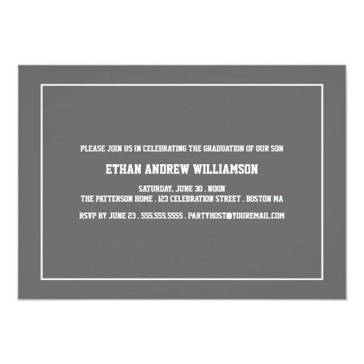 "Sports Guy Photo Graduation Party Invitation 5"" X 7"" Invitation Card (back side)"