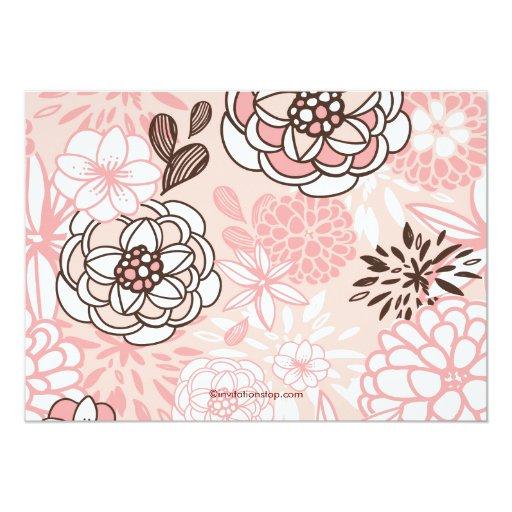 """Modern Pink Floral Cross Girls Baptism Invitation 5"""" X 7"""" Invitation Card (back side)"""