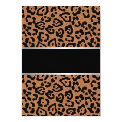 "Classy Leopard Print Retirement Party Invitations 5"" X 7"" Invitation Card (back side)"