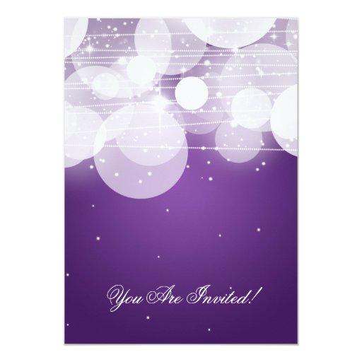 Elegant Rehearsal Dinner Glow & Sparkle Purple 5x7 Paper Invitation Card (back side)