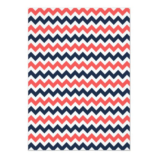 The Modern Chevron Wedding Collection Navy & Coral 5x7 Paper Invitation Card (back side)