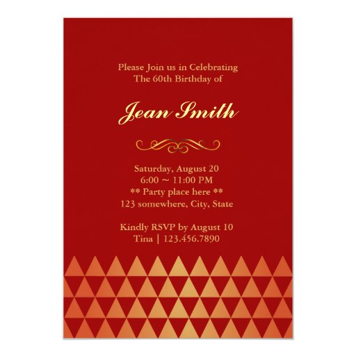 "Luxury Red & Gold 60th Birthday Party Invitation 5"" X 7"" Invitation Card (back side)"