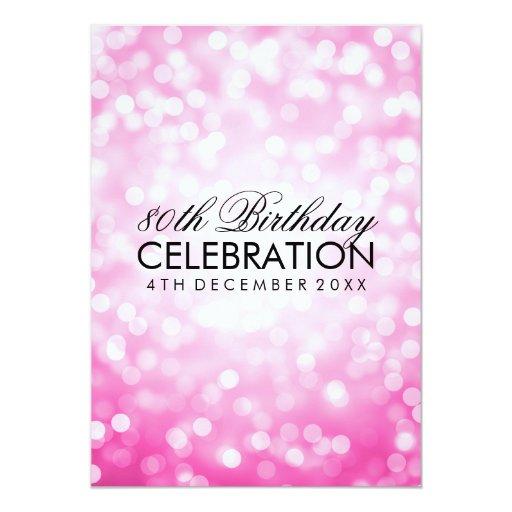 Elegant 80th Birthday Party Pink Glitter Lights 5x7 Paper Invitation Card (back side)