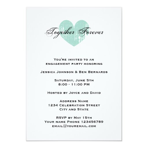 """Elegant teal heart engagement party invitations 5"""" x 7"""" invitation card (back side)"""