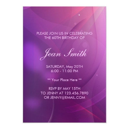 "Classy Purple Flower 60th Birthday Party Invite 5"" X 7"" Invitation Card (back side)"