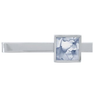 Painted Blue Petals Silver Finish Tie Bar