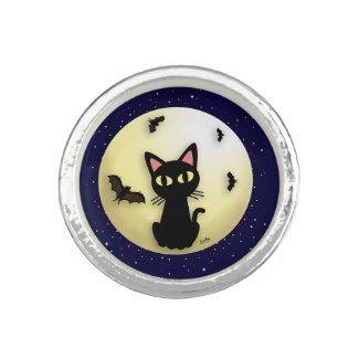 Halloween Black Cat Ring