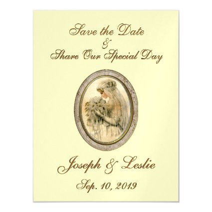 Save the Date Antique Bride Yellow Magnetic Card