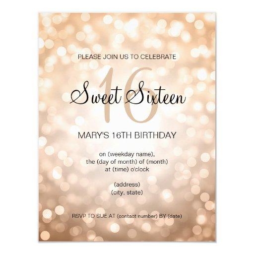 Elegant Sweet 16 Birthday Copper Glitter Lights 4.25x5.5 Paper Invitation Card