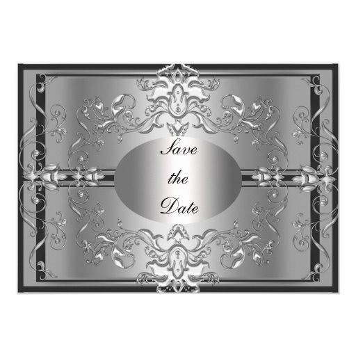 """Save The Date Silver Elegant Invitation 5"""" X 7"""" Invitation Card"""