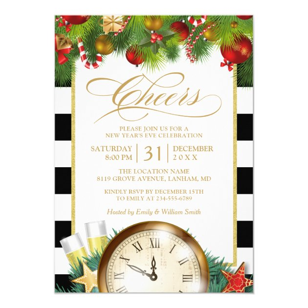 Cheers Champagne New Years Eve Countdown Party Card