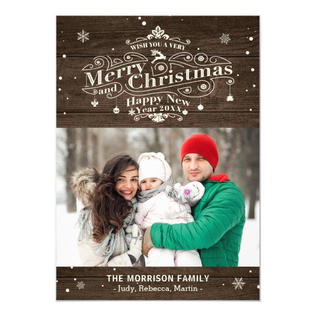 Rustic Wood Typography Merry Christmas Photo Card