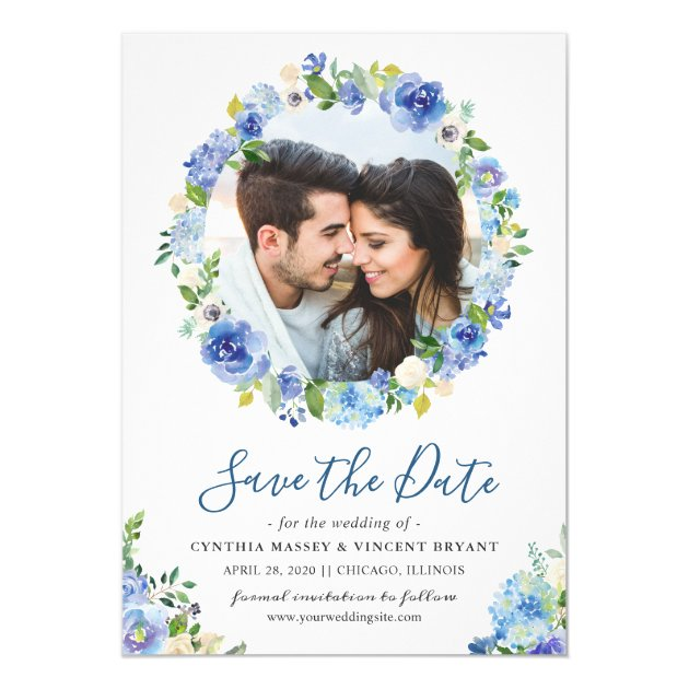 Navy Blue Hydrangeas Floral Wreath Save the Date Card (back side)