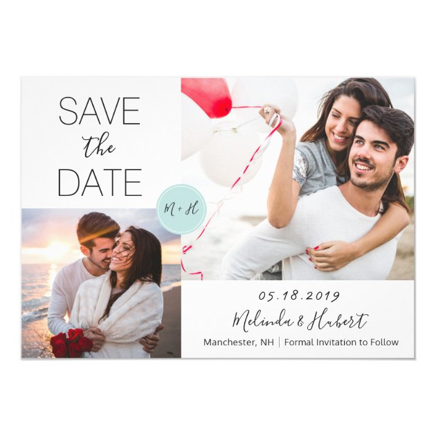 Chic Mint Monogram Wedding Save The Date Photo Card (back side)