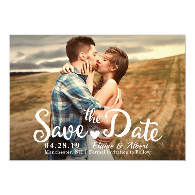 Modern Script Teal Wedding Save The Date Photo Card (back side)