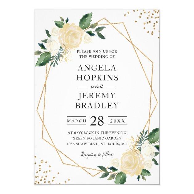 Modern Geometric Frame Nature Green Floral Wedding Card