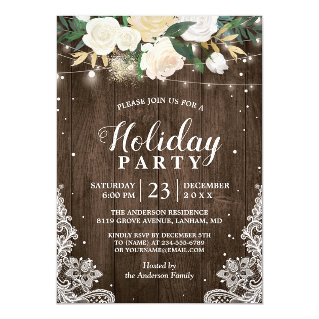 Rustic Wood Floral String Lights Holiday Party Card (front side)