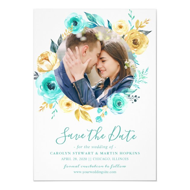 Tiffany Gold Floral Wreath Photo Save the Date Card (back side)