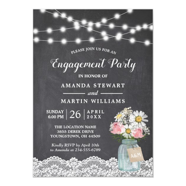 Chalkboard String Lights Floral Engagement Party Card