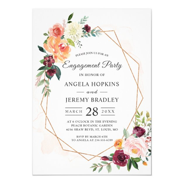 Modern Diamond Frame Blush Floral Engagement Party Card