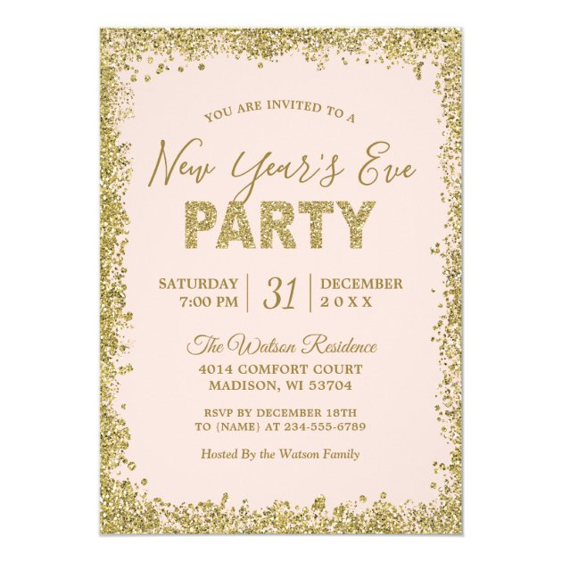 Blush Pink Gold Glitters New Year Eve Party Card
