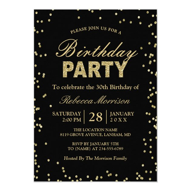 Modern Gold Glitter Sparkles Birthday Party Card