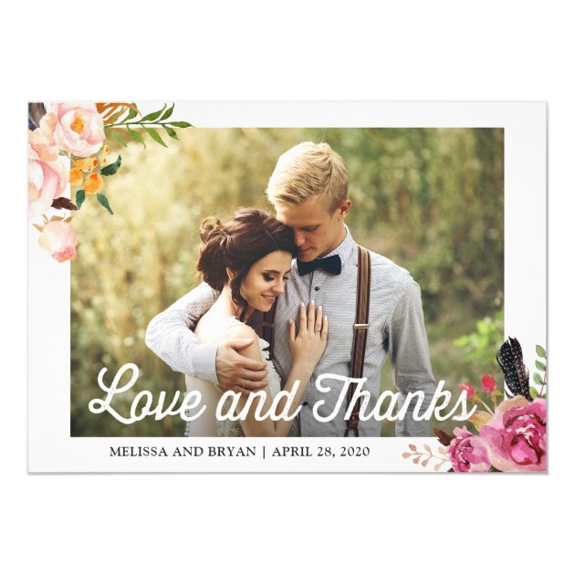 Rustic Boho Floral Wedding Photo Love and Thanks Card