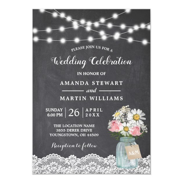 Chalkboard String Lights Baby's Breath Wedding Card