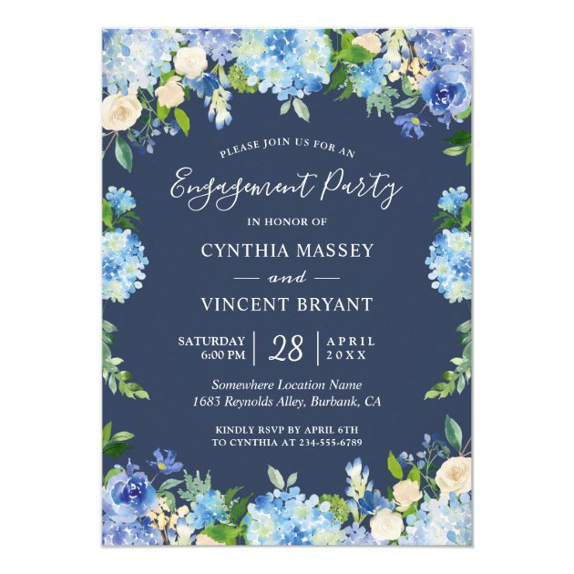 Navy Blue Hydrangeas Floral Engagement Party Card