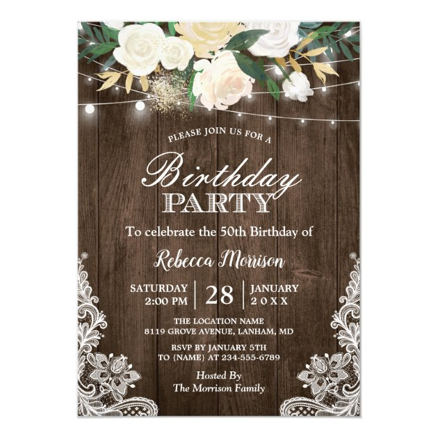 Rustic White Floral String Lights Birthday Party Card (front side)
