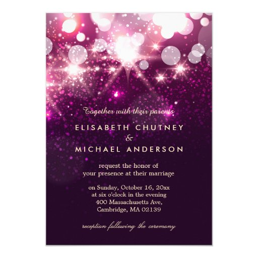 Fashionable Pink Glitter Sparkles Stylish Wedding 5x7 Paper Invitation Card