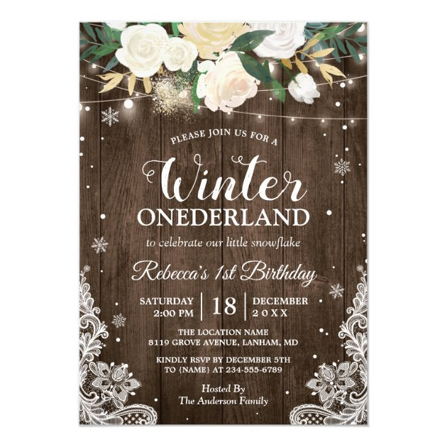Winter ONEderland Rustic Floral Baby 1st Birthday Card