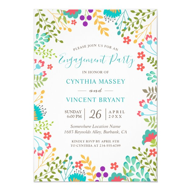 Fresh Pastel Floral Garden Engagement Party Card