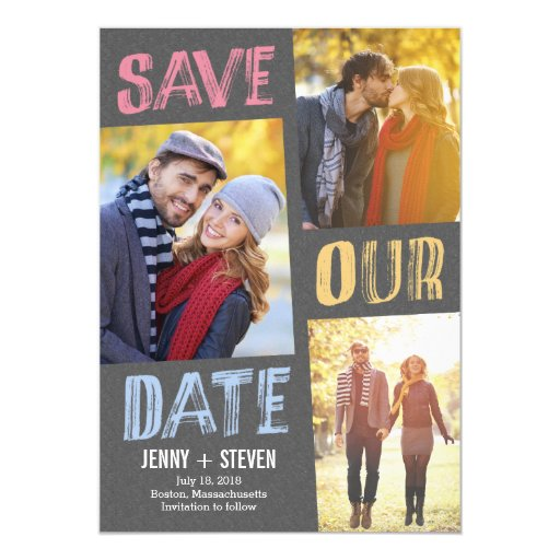"""Casually Chic Save The Date Card 5"""" X 7"""" Invitation Card"""