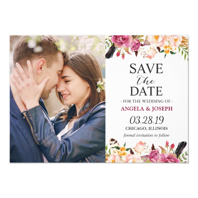 Romantic Boho Floral Feather Photo Save the Date Card